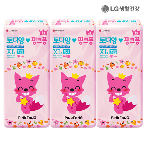 LG생활건강 토디앙 핑크퐁 팬티 특대형 여아용 108P (36p*3)●