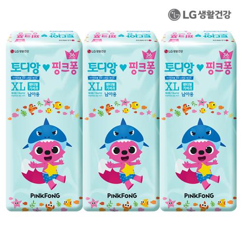 LG생활건강 토디앙 핑크퐁 팬티 특대형 남아용 108P (36p*3)●