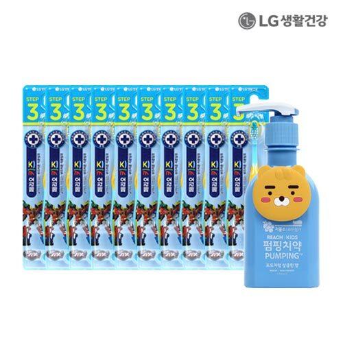 LG생활건강 페리오키즈 3단계(카봇) 10입 & 리치키즈 펌핑치약 블루