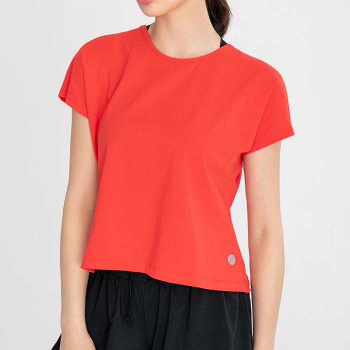 TS7117RD 여성 요가 필라테스복 등판트임 반팔 티셔츠