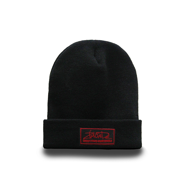 [지몬드] Patch Beanie (Black & Red)
