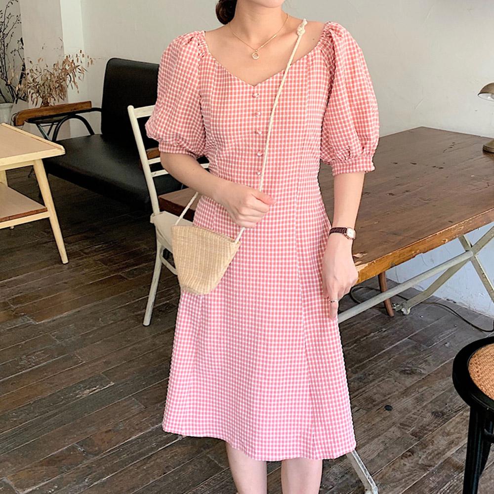 [DRESS]온니유 체크 퍼프원피스