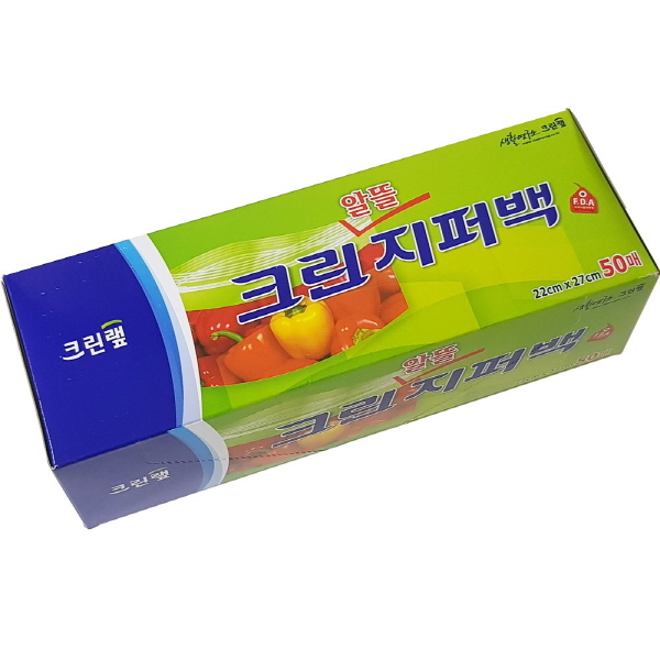 크린랩 알뜰지퍼백 비닐백 위생백 22cm x 27cm 50매