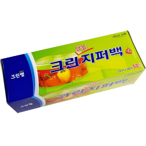 크린랩 알뜰지퍼백 비닐백 위생백 25cm x 30cm 50매