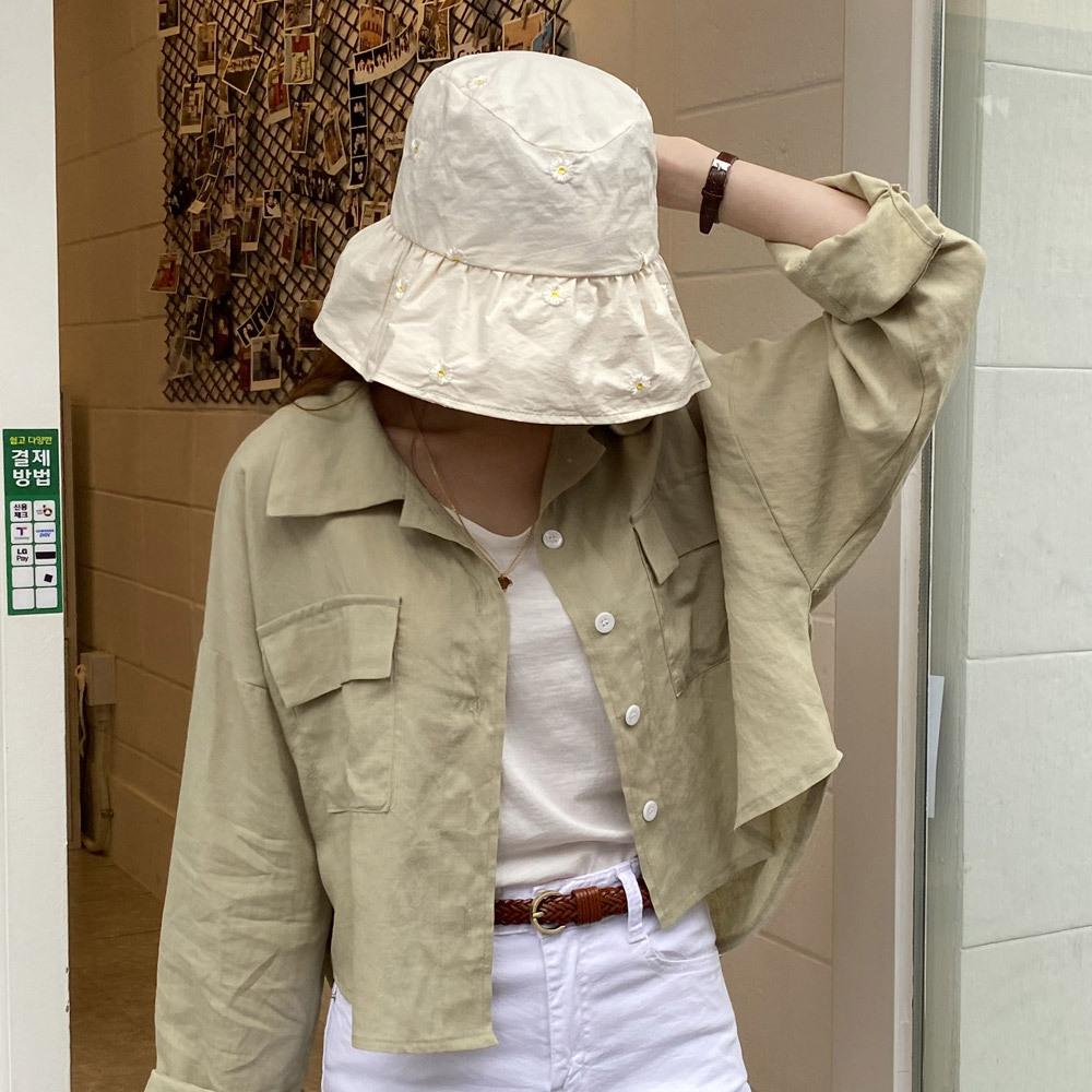 플라워 패턴 자수 버킷햇 벙거지 모자
