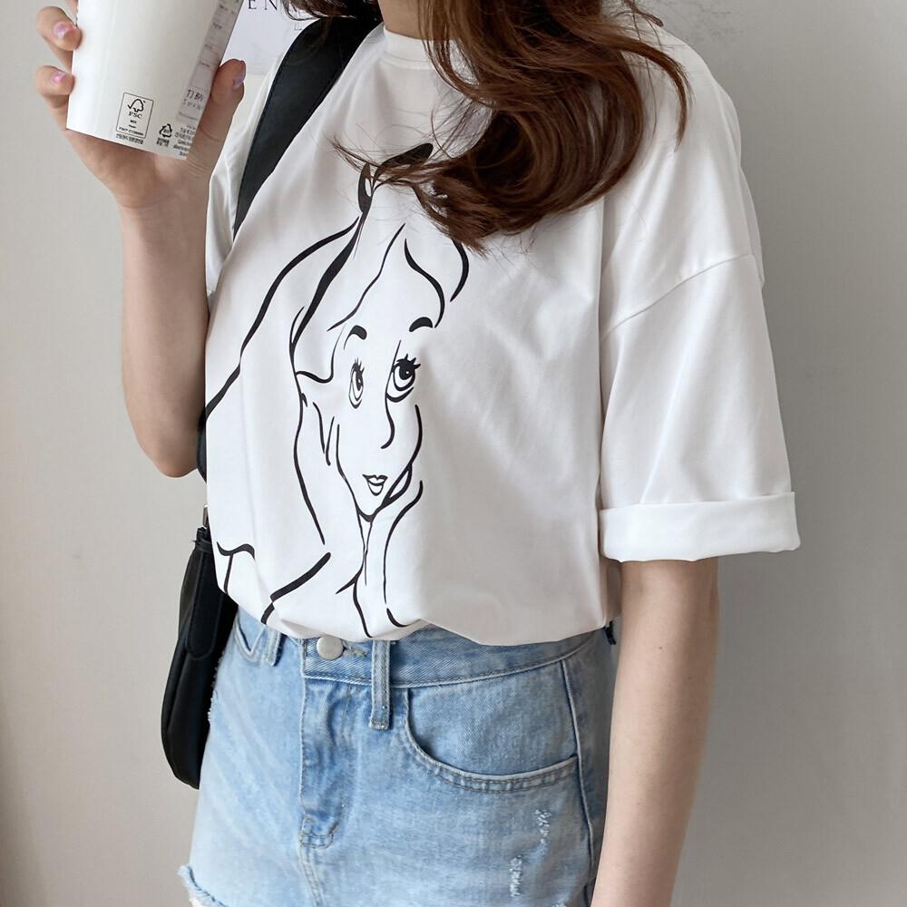 여름 라운드 루즈핏 면 반팔 박시핏 티셔츠
