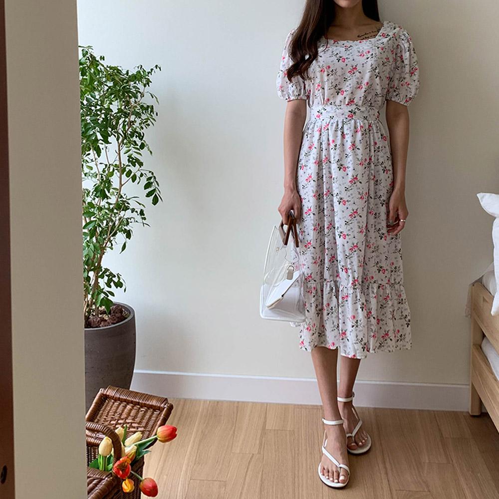 [DRESS]세리 플라워 퍼프원피스