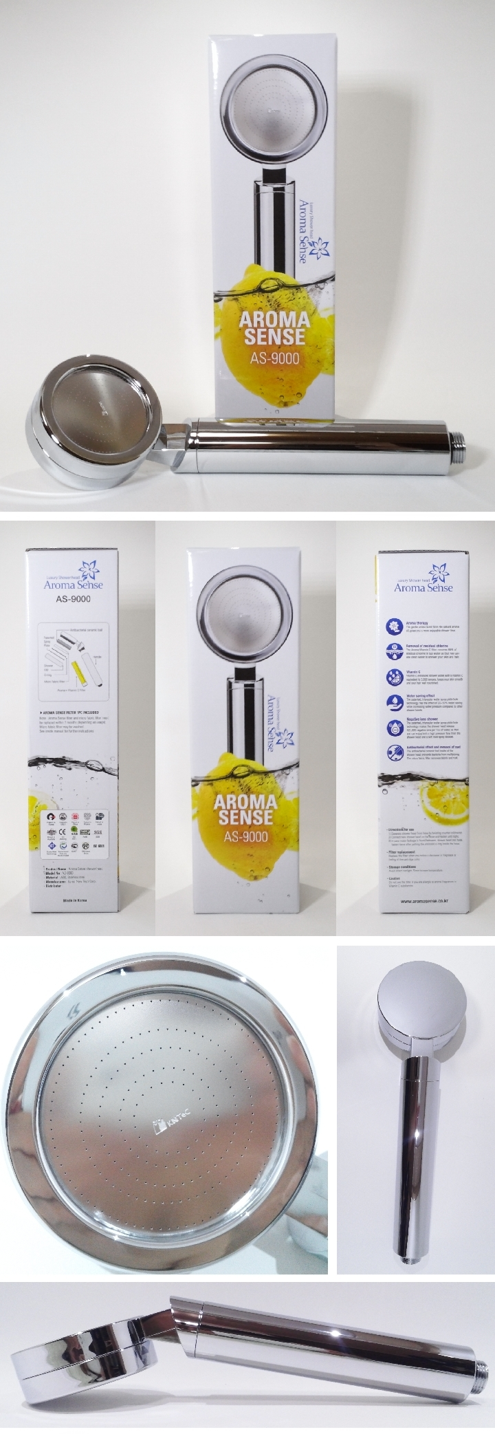 kntec aroma sense vitamin c water saving super jet as 9000 chrome shower head ebay. Black Bedroom Furniture Sets. Home Design Ideas