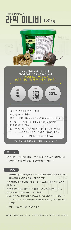 [B2B/도매] 라믹미니바 1.8kg 상세페이지_쥐약_쥐구제_덩어리타입_살서제_디파시논 사용_바이엘