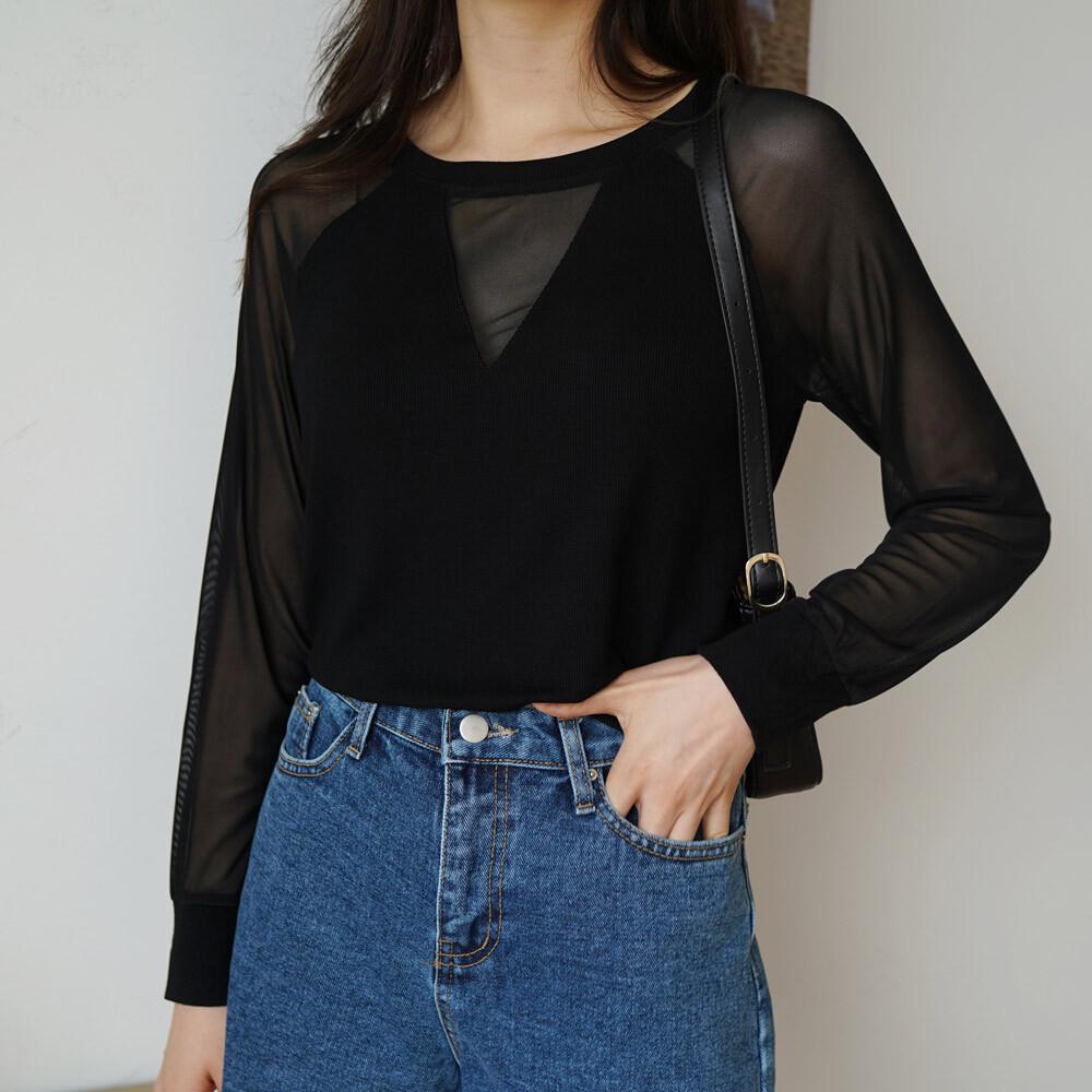 페미닌 브이넥 긴팔 망사 시스루 티셔츠