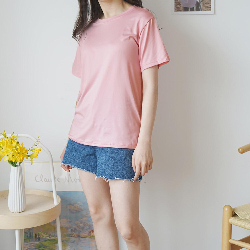 여름 라운드 반팔 여성 티셔츠