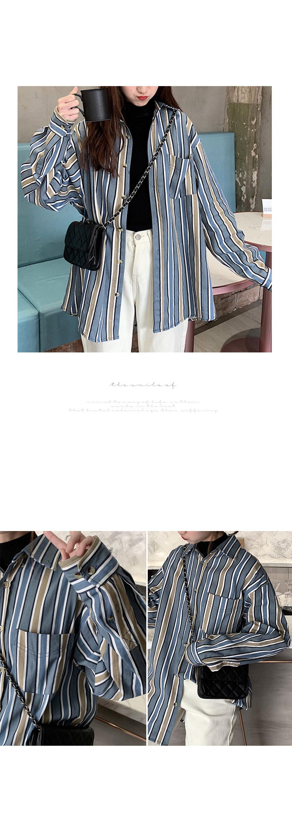 겟잇미 블루 줄지 단가라 배색 남방 - 겟잇미, 30,730원, 상의, 블라우스/셔츠