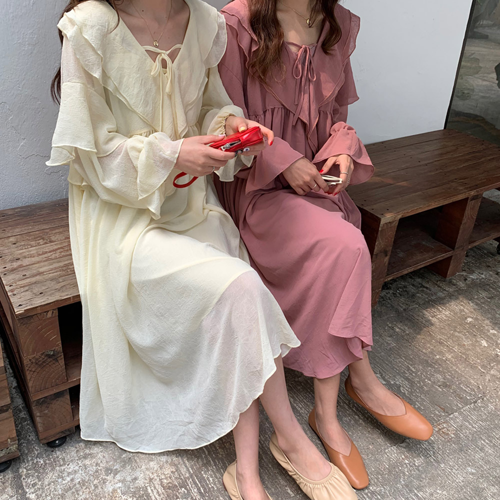 [DRESS]마이델 프릴 롱원피스