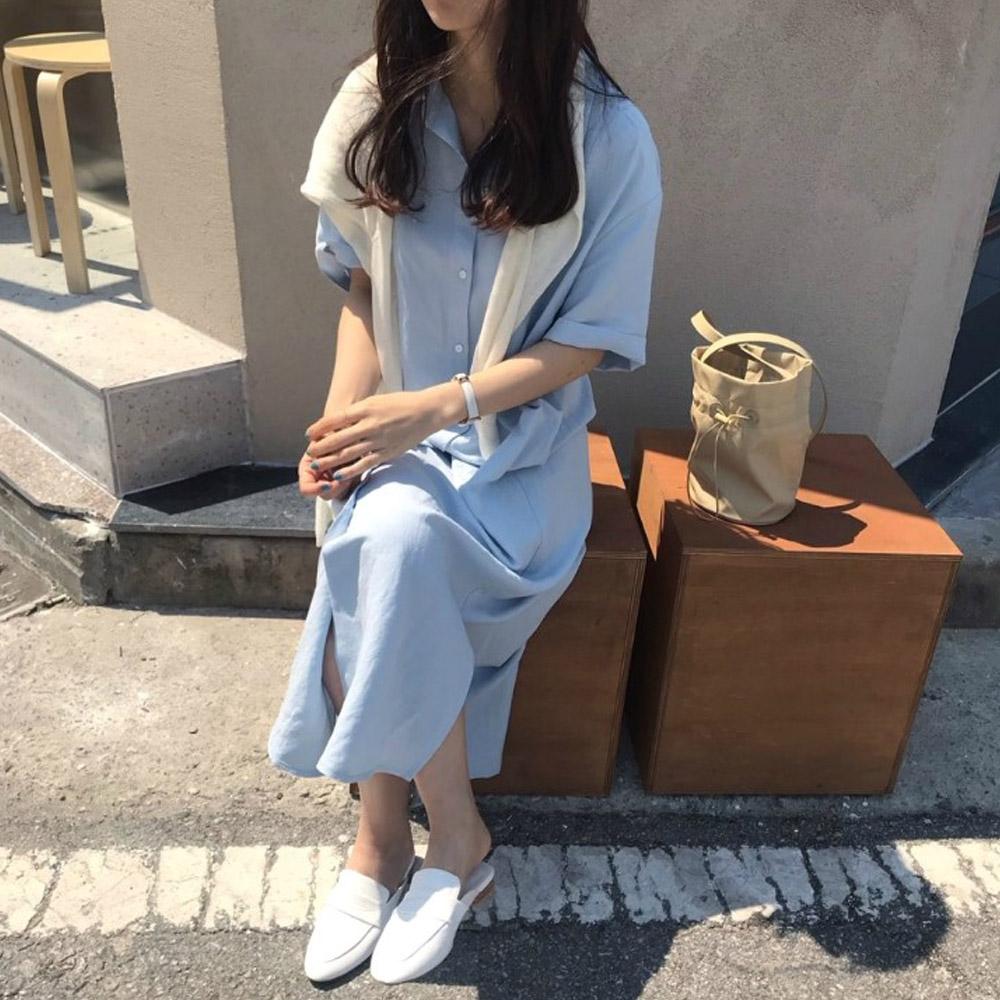 [DRESS]아렌 롱 셔츠원피스