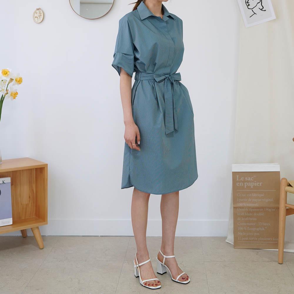 [DRESS]린 줄지 카라원피스