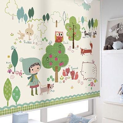 [숲속친구들] 롤스크린 아이방 아기 어린이 키즈 실사 그림 어린이집 유치원 암막 방염 맞춤 디자인 제작 로즈레