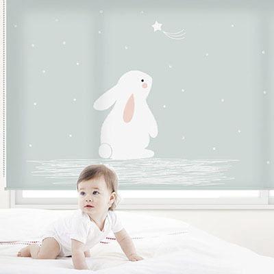 아이방 아기방 키즈 어린이 암막 방염 실사 롤스크린 블라인드 로즈레 [아기토끼 9번]