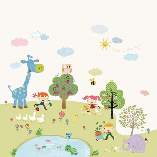 아이방 아기방 키즈 어린이 암막 방염 실사 롤스크린 블라인드 로즈레 [초록 동산]