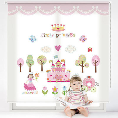 여자 아이방롤스크린 공주 키즈 아기 암막, 방염, 실사, 그림 창문 롤 블라인드 맞춤제작