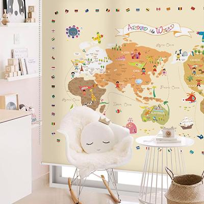 로즈레 세계지도 아이방 아기방 어린이 암막 실사 롤스크린 [03 신나는세계지도-베이지]