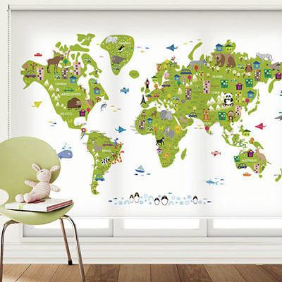 [12 귀여운지도] 세계지도 롤스크린 아이방 아기 어린이 키즈 실사 암막 방염 맞춤 디자인 제작 블라인드 로즈레