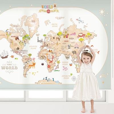 세계지도롤스크린 아이방 아기 키즈 어린이 암막, 방염, 그림 창문 롤 블라인드 맞춤제작