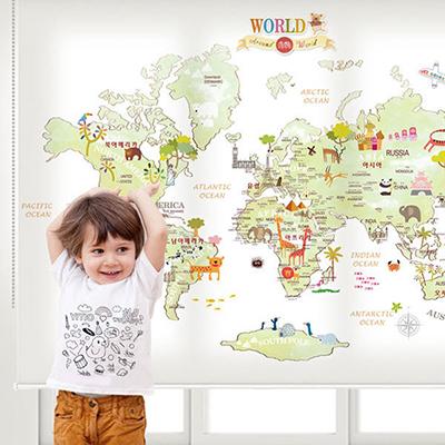 로즈레 세계지도 아이방 아기방 어린이 암막 실사 롤스크린 [14 아이러브월드-그린]