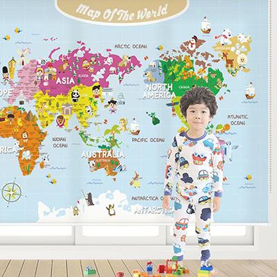로즈레 세계지도 아이방 아기방 어린이 암막 실사 롤스크린 [15 왕자님세계지도-하늘]