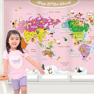 [16 공주님지도] 세계지도 롤스크린 아이방 아기 어린이 키즈 실사 암막 방염 맞춤 디자인 제작 블라인드 로즈레