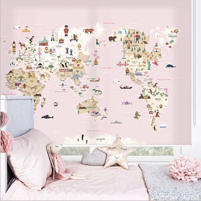 [20 프렌즈월드맵-핑크] 세계지도롤스크린