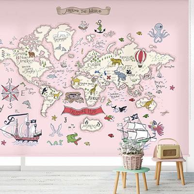 [32 보물찾기-핑크] 세계지도롤스크린