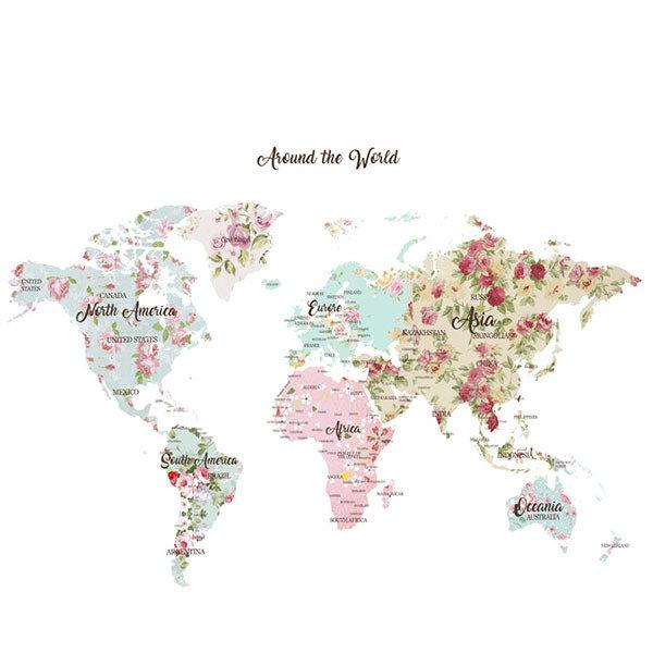 [37 프로랄맵] 세계지도롤스크린