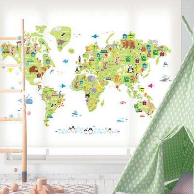 로즈레 세계지도 아이방 아기방 어린이 암막 실사 롤스크린 [39 귀여운세계지도-연그린]