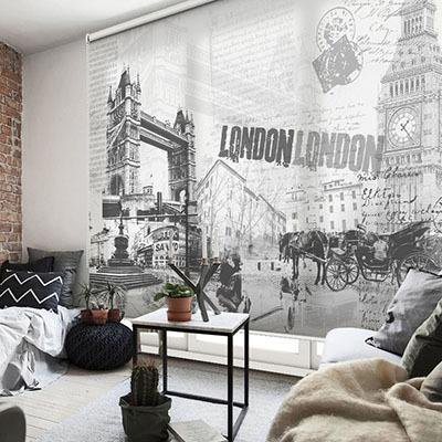 [런던 1번] 실사 암막 방염 맞춤 디자인 제작 롤스크린 로즈레