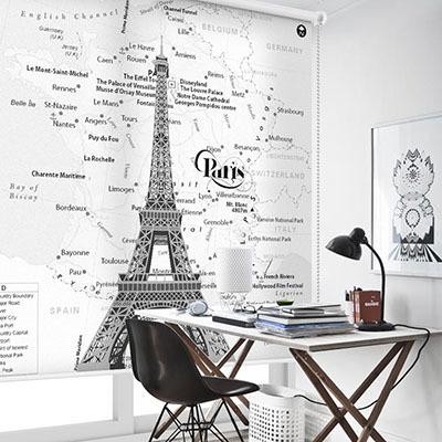[에펠탑 2번] 실사 암막 방염 맞춤 디자인 제작 롤스크린 로즈레