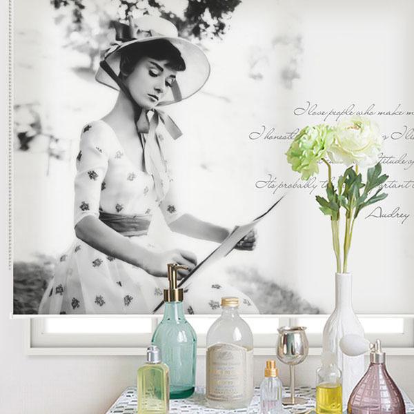 실사 롤스크린 오드리햅번 사진 암막 방염 디자인 아트 창문 롤 블라인드 인쇄 맞춤제작