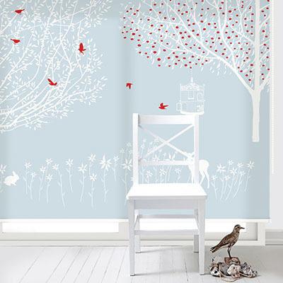 실사롤스크린 나무 일러스트 암막 방염 거실 사무실 창문 롤 블라인드 로고 인쇄 맞춤제작