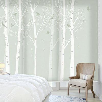 실사롤스크린 자작나무 그림 암막 방염 거실 사무실 창문 롤 블라인드 로고 인쇄 맞춤제작