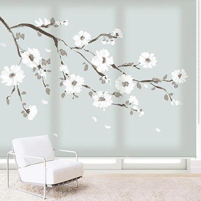 [흰꽃 나무] 실사 암막 방염 맞춤 디자인 제작 롤스크린 로즈레