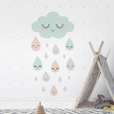 친환경 뮤럴 구름 아이방 그림 어린이집 꾸미기 아기 키즈 방염 실크 인테리어 포인트벽지