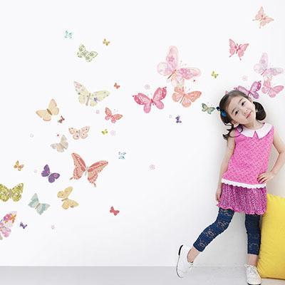 친환경 뮤럴 나비 아이방 그림 어린이집 꾸미기 아기 키즈 방염 실크 인테리어 포인트벽지