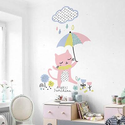 친환경 뮤럴 고양이 동물 캐릭터 아이방 그림 어린이집 아기 키즈 방염 실크 인테리어 벽지