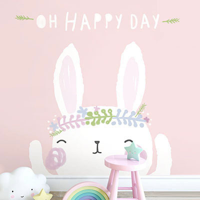 친환경 뮤럴 토끼 동물 캐릭터 아이방 그림 어린이집 아기 키즈 방염 실크 인테리어 벽지