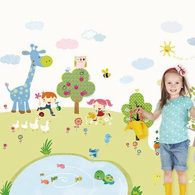 친환경 뮤럴 어린이집 유치원 꾸미기 캐릭터 동물 그림 아기 키즈 방염 실크 인테리어 벽지