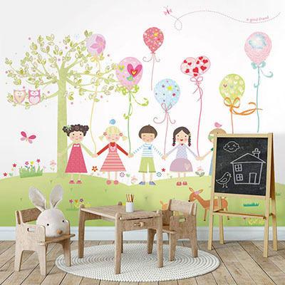 친환경 뮤럴 어린이집 유치원 꾸미기 캐릭터 그림 아기 키즈 방염 실크 인테리어 포인트벽지