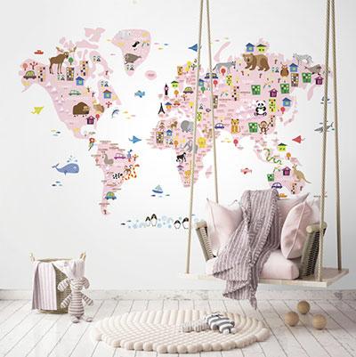 세계지도벽지 아이방 아기방 키즈 어린이 그림 뮤럴 벽지 [40 귀여운세계지도-연핑크]