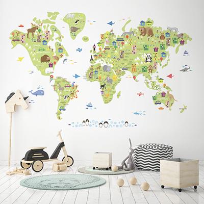 세계지도벽지 아이방 아기방 키즈 어린이 뮤럴 벽지 [39 귀여운세계지도-연그린]