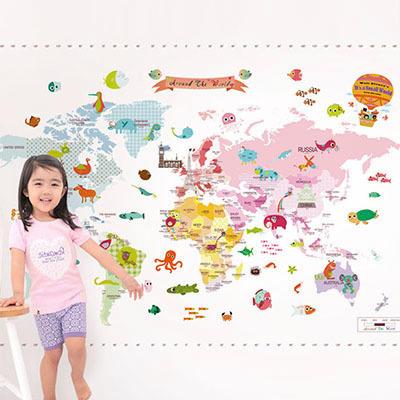 세계지도벽지 아이방 아기방 키즈 어린이 뮤럴 벽지 [01 마이월드맵-핑크]