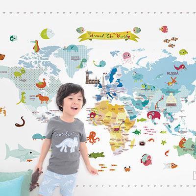 세계지도벽지 아이방 아기방 키즈 어린이 뮤럴 벽지 [02 마이월드맵-블루]