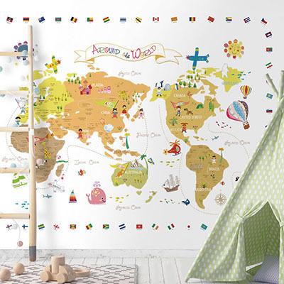 세계지도벽지 아이방 아기방 키즈 어린이 뮤럴 벽지 [04 신나는세계지도-화이트]